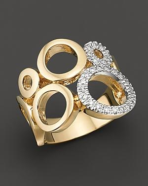 Circular 14 Kt. Yellow Gold And Diamond Ring, 0.25 Ct. T.w.