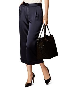 Karen Millen Wide-leg Cropped Satin Pants