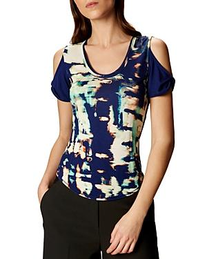 Karen Millen Printed Cold-shoulder Tee