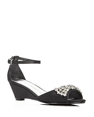 Caparros Hugh Embellished Satin Demi Wedge Sandals