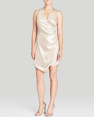Dknyc Metallic Asymmetric Ruched Dress