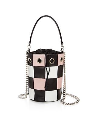 Delphine Delafon Check Print Small Leather Bucket Bag