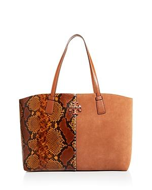 Tory Burch Mcgraw Snake-embossed Leather & Suede Tote