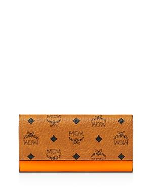 Mcm Patricia Large Monogrammed Patent Leather Wallet