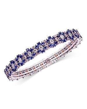 Roberto Demeglio 18k White Gold Cashmere White & Champagne Diamond & Blue Sapphire Stretch Bracelet