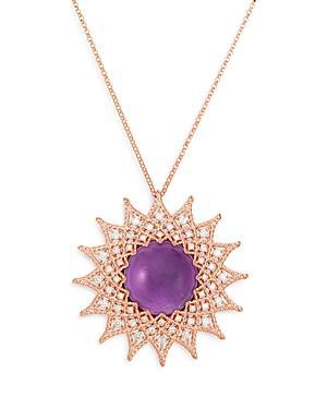 Roberto Coin 18k Rose Gold Roman Barocco Diamond & Amethyst Starburst Pendant Necklace, 28
