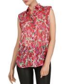 The Kooples Sleeveless Cherry Blossom-printed Shirt