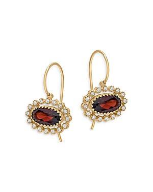 Bloomingdale's Garnet & Diamond Drop Earrings In 14k Yellow Gold - 100% Exclusive