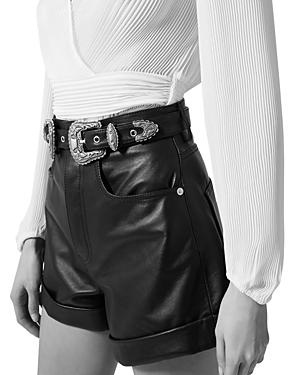 The Kooples Belted Leather Shorts