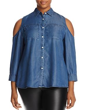 Alison Andrews Plus Cold-shoulder Chambray Shirt
