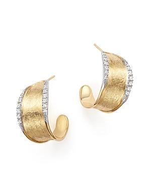 Marco Bicego 18k Yellow Gold Diamond Lunaria Hoop Earrings