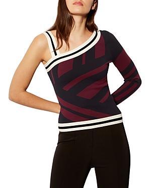 Karen Millen Single-sleeve Striped Top