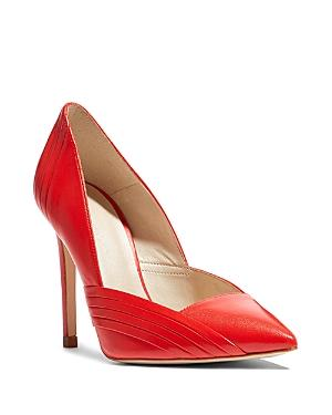 Karen Millen Women's Pleated Leather Pointed Toe Court Pumps