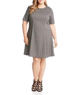 Karen Kane Plus Geometric Short Sleeve Flare Dress