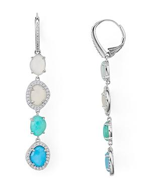 Nadri Isola Multi Stone With Reconstituted Turquoise Doublet Linear Earrings