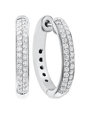 Diamond Double Row Hoop Earrings In 14k White Gold, .50 Ct. T.w.