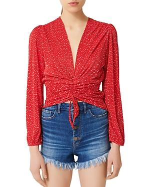 Maje Lion Cropped Ruched Top