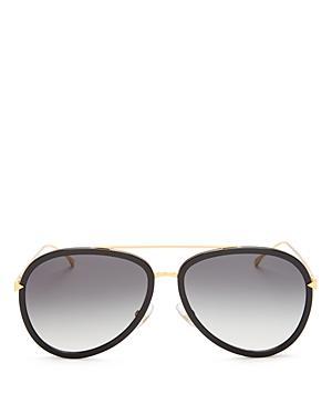 Fendi Combo Aviator Sunglasses, 57mm