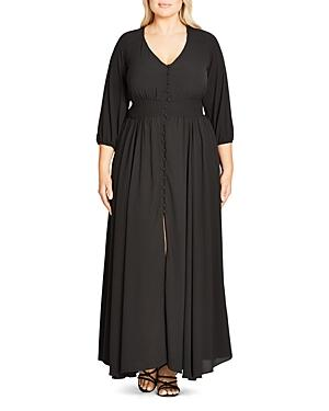 City Chic Button-down Maxi Dress