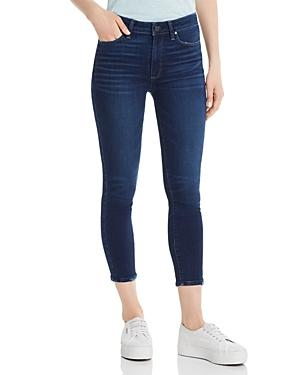 Paige High-rise Slim Crop Jeans In Hibiscus Distressed