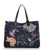 Tory Burch Ella Medium Floral-print Nylon & Leather Tote