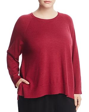 Eileen Fisher Plus Raglan Sleeve Wool Sweater