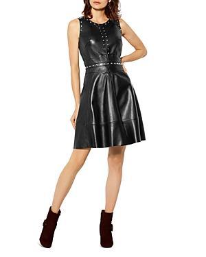 Karen Millen Studded Leather A-line Dress