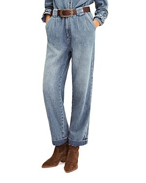 Ba & Sh Saxo Pleated Jeans In Light Used Blue