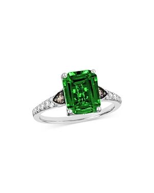 Bloomingdale's Emerald & Champagne & Brown Diamond Ring In 14k White Gold - 100% Exclusive