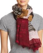 Aqua Variegated Striped Wool Scarf - 100% Exclusive