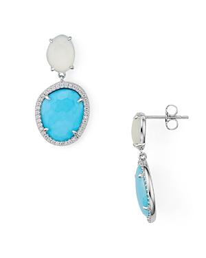 Nadri Isola Chalcedony With Reconstituted Turquoise Doublet Drop Earrings
