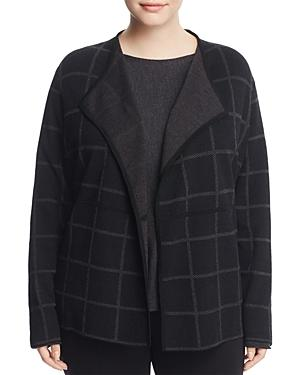 Eileen Fisher Plus Windowpane Draped Cardigan