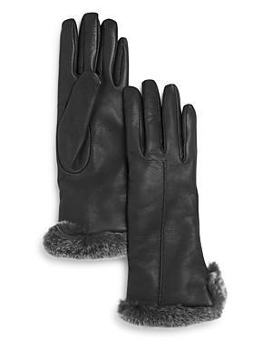 Bloomingdale's Rex Rabbit Fur Trim Leather Gloves - 100% Exclusive