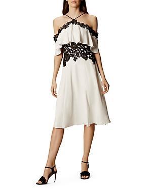 Karen Millen Lace Trimmed Cold-shoulder Dress