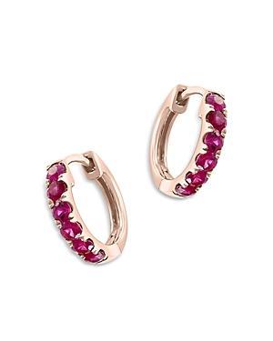 Bloomingdale's Ruby Mini Hoop Earrings In 14k Rose Gold - 100% Exclusive