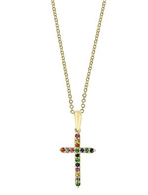 Bloomingdale's Rainbow Sapphire Cross Pendant Necklace In 14k Gold, 18 - 100% Exclusive