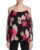 Calvin Klein Cold-shoulder Floral Print Top