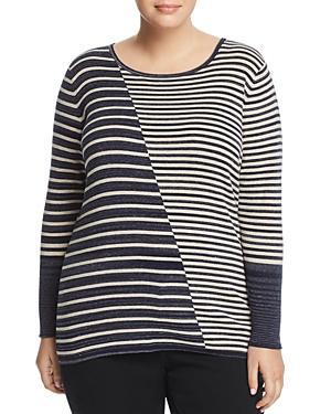 Nic And Zoe Plus Serene Asymmetric Stripe Top