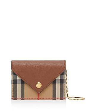 Burberry Jade Mini Vintage Check Print & Grainy Leather Card Case