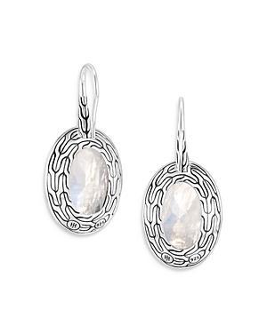 John Hardy Sterling Silver Classic Chain Silver Rainbow Moonstone & Gray Diamond Oval Drop Earrings