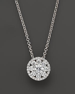 Roberto Coin Diamond Pendant Necklace In 18k White Gold, 16