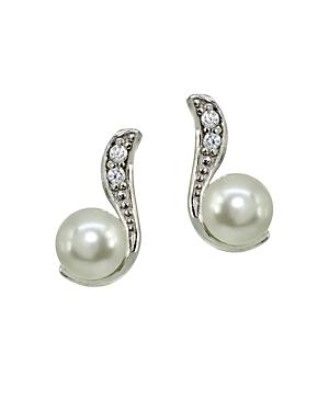 Aqua Pave Accent & Cultured Pearl Drop Earrings - 100% Exclusive