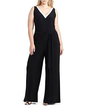 Lauren Ralph Lauren Plus Contrast V-neck Jumpsuit