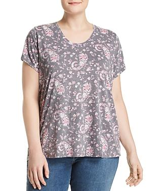 Lucky Brand Plus Paisley Floral Print Tee