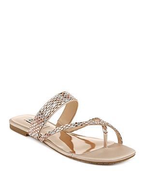 Badgley Mischka Women's Zelah Crystal Embellished Flat Sandals