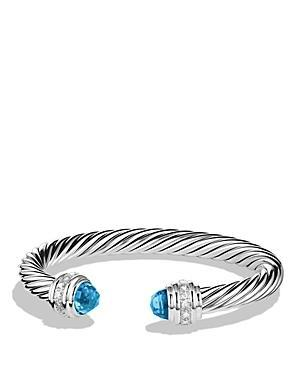 David Yurman Cable Classics Bracelet With Blue Topaz & Diamonds