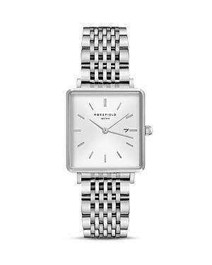 Rosefield The Boxy Silver-tone Link Bracelet Watch, 26mm X 28mm