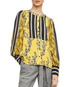 Bcbgmaxazria Striped-inset Botanical Print Top