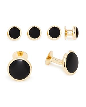 David Donahue Brass & Onyx Shirt Stud & Cufflinks Set