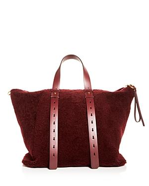 Salvatore Ferragamo Shearling & Leather Large Tote Bag